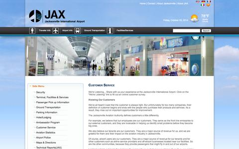 Screenshot of Support Page flyjacksonville.com - Jacksonville International Airport - captured Oct. 3, 2014