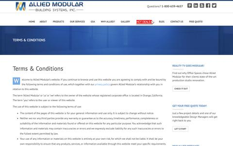 Screenshot of Terms Page alliedmodular.com - Terms & Conditions | Allied Modular - captured Nov. 12, 2018