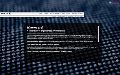 Screenshot of Team Page radetec.com - RADE TECNOLOGÍAS S.L. · Who we are? - captured Oct. 9, 2014