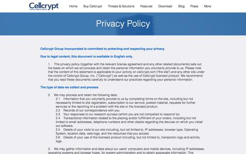 Screenshot of Privacy Page cellcrypt.com - Cellcrypt - Privacy Policy - captured July 12, 2018