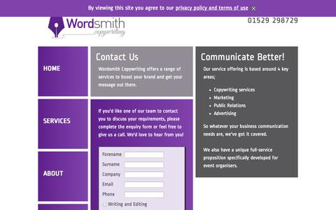 Screenshot of Contact Page wordsmithcopywriting.co.uk - Contact Wordsmith Copywriting - captured Oct. 7, 2014