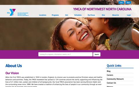 Screenshot of About Page ymcanwnc.org - About Us - YMCA of Northwest North Carolina - captured Sept. 29, 2017