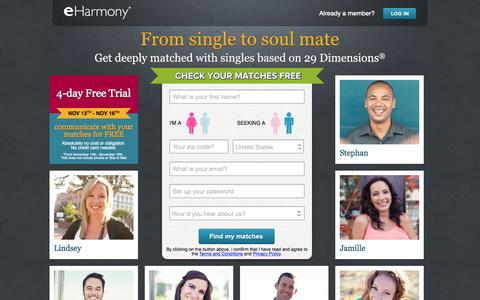 Screenshot of Home Page eharmony.com - eHarmony #1 Trusted Singles Online Dating Site - More than Personals - captured Nov. 16, 2015