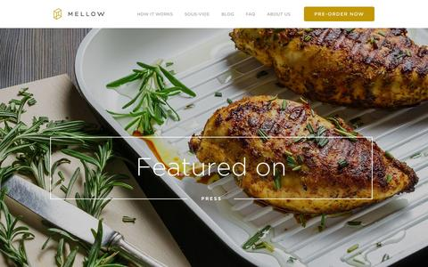 Screenshot of Press Page cookmellow.com - Meet Mellow. The smart sous-vide machine. - captured Nov. 18, 2015