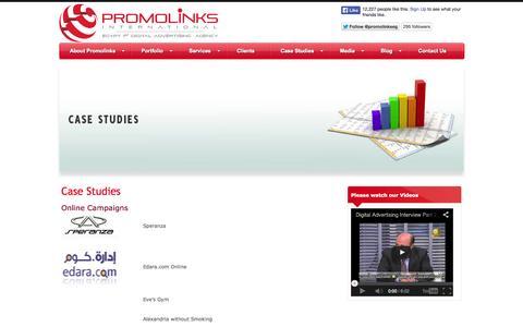 Screenshot of Case Studies Page promolinks.com - Case Studies   Promolinks - Egypt 1st Digital Advertising Agency - captured Oct. 3, 2014