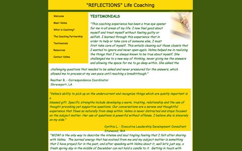 Screenshot of Testimonials Page reflectionslifecoaching.com - testimonials - captured Oct. 7, 2014