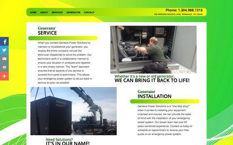Screenshot of Services Page genteckrepair.com - Best Generator Service in West Virginia - captured Nov. 1, 2014