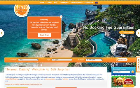 Screenshot of Home Page balisurprise.com - Bali Surprise | Bali Holidays and Vacation - captured Aug. 1, 2018