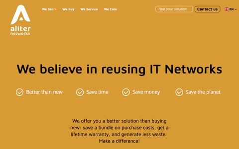 Screenshot of Home Page aliternetworks.com - Refurbished Cisco Networking Hardware - Routers, switches, etc. - captured July 29, 2018