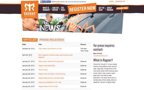 Screenshot of Press Page ragnarrelay.com - Press Releases & Contacts, Articles, News | Ragnar Relay Series - captured Sept. 24, 2014