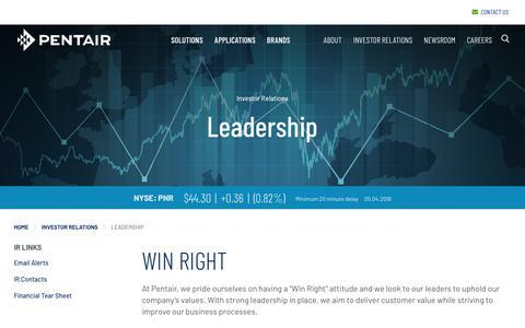 Screenshot of Team Page pentair.com - Pentair plc - Investor Relations - Leadership - captured May 7, 2018