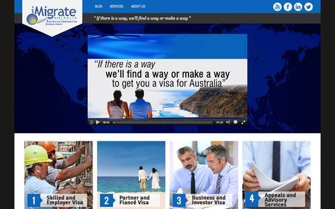 Screenshot of Home Page imigrate.com.au - Home | iMigrate.com.au - captured Sept. 7, 2015