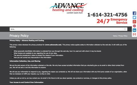 Screenshot of Privacy Page advancehc.net - Privacy Policy | Advance Heating and Cooling - captured Nov. 2, 2014