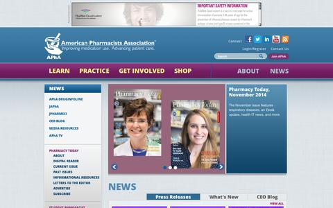 Screenshot of Press Page pharmacist.com - | American Pharmacists Association - captured Nov. 2, 2014