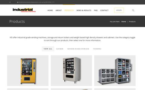 Screenshot of Products Page industrialvendingsystems.com.au - Industrial Vending Machines - Products and Management Solutions - captured July 27, 2018
