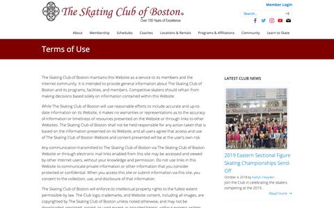 Screenshot of Terms Page scboston.org - Terms of Use – The Skating Club of Boston - captured Oct. 18, 2018