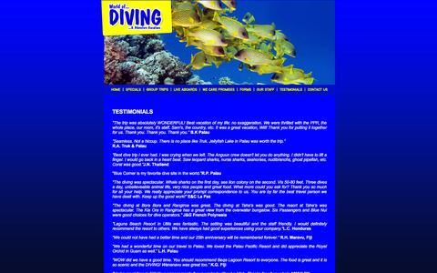 Screenshot of Testimonials Page worldofdiving.com - World of Diving & Adventure Vacations - Scuba Diving, Island Vacations, Diving Packages, Live-Aboards, Adventure Travel - captured Jan. 11, 2016