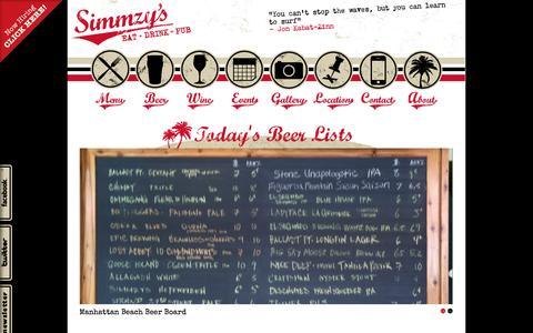 Screenshot of Home Page simmzys.com - Simmzy's Pub : Home - captured Oct. 7, 2014