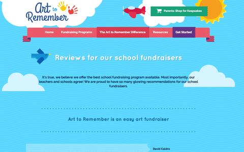 Screenshot of Testimonials Page arttoremember.com - Positive referrals from schools for our art fundraising programs - captured Sept. 30, 2014
