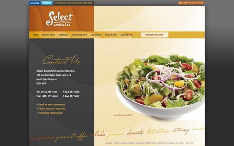 Screenshot of Contact Page selectsandwich.com - Select Sandwich | Contact Us | (416) 391-1244 - captured Oct. 7, 2014