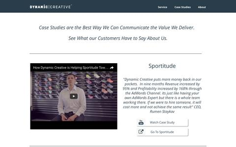 Screenshot of Case Studies Page dynamiccreative.com - Dynamic Creative - Case Studies - captured Nov. 15, 2016