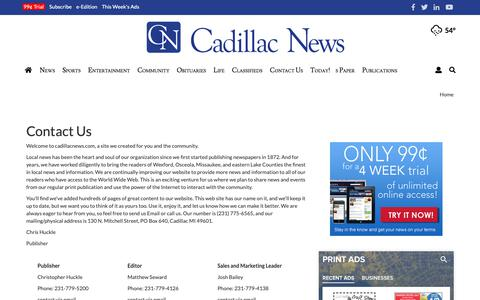 Screenshot of Contact Page cadillacnews.com - Contact Us | Site | cadillacnews.com - captured Sept. 28, 2018