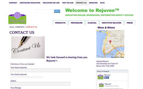 Screenshot of Contact Page rejuvee.com - Contact us - captured Sept. 30, 2014