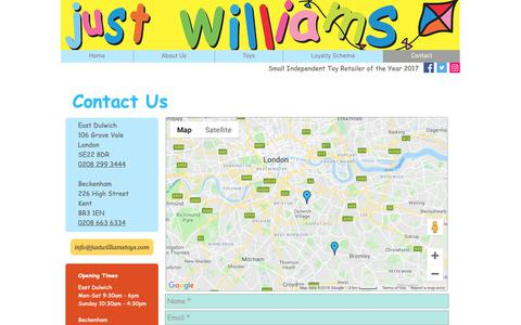 Screenshot of Contact Page justwilliamstoyshop.com - Just Williams - Contact Us - captured Oct. 14, 2018