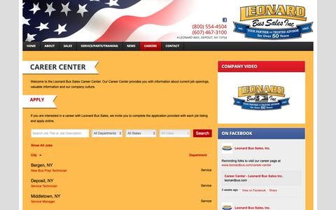 Screenshot of Jobs Page leonardbus.com - Career Center - Leonard Bus Sales Inc.Leonard Bus Sales Inc. - captured Sept. 28, 2018