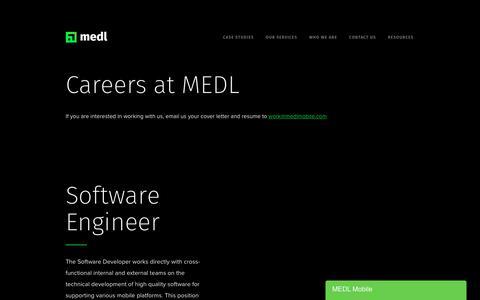 Screenshot of Jobs Page medlmobile.com - MEDL Mobile Careers — MEDL Mobile - captured Jan. 11, 2020