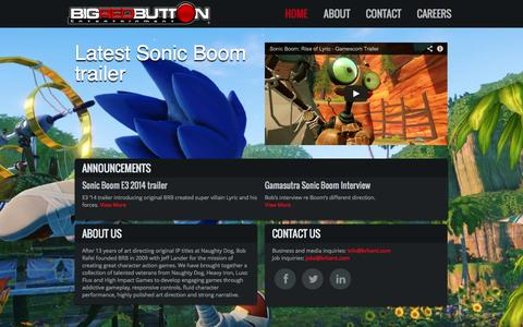 Screenshot of Home Page brbent.com - Big Red Button Entertainment - captured Oct. 5, 2014