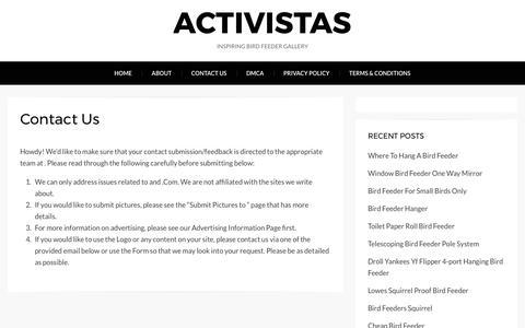 Screenshot of Contact Page activistas.us - Contact Us – Activistas - captured May 29, 2017