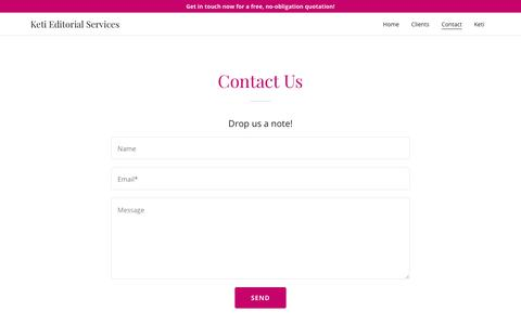 Screenshot of Contact Page ketiedits.com - Contact | Keti Editorial Services - captured Oct. 15, 2018