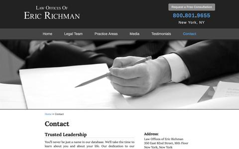 Screenshot of Contact Page richman-law.com - Contact - The Law Offices of Eric Richman - captured April 24, 2017