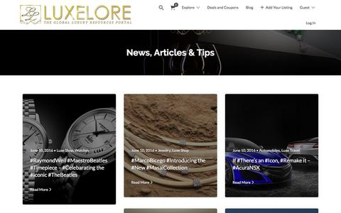 Screenshot of Blog luxelore.com - News, Articles & Tips – LuxeLore - captured May 24, 2017