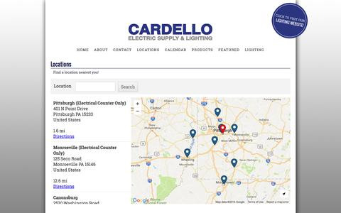 Screenshot of Locations Page cardello.com - Locations : Cardello Electric Supply & Lighting - captured Nov. 23, 2016
