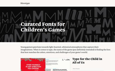 Screenshot of Landing Page monotype.com - Children's Game Font Collection - captured July 15, 2016