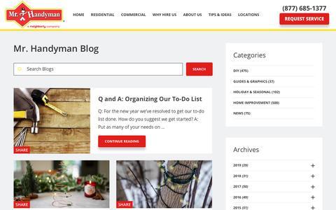 Screenshot of Blog mrhandyman.com - Inside Our Toolbox | Home Improvement Blog - captured Jan. 13, 2020