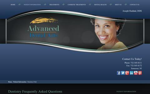 Screenshot of FAQ Page drjosephhaddad.com - General Dentistry FAQ, Dental FAQ Somerset NJ - captured Oct. 4, 2014