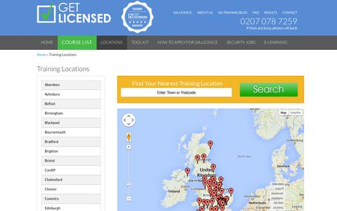 Screenshot of Maps & Directions Page get-licensed.co.uk - SIA Licence Training UK - View all SIA training locations of Get-Licensed in the UK - captured Oct. 2, 2014
