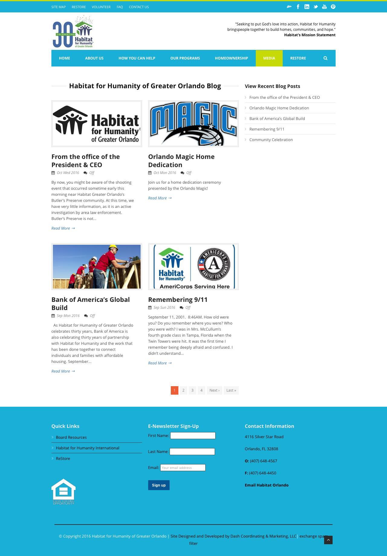 Screenshot of habitat-orlando.org - Habitat for Humanity of Greater Orlando   » Habitat for Humanity of Greater Orlando Blog - captured Oct. 17, 2016