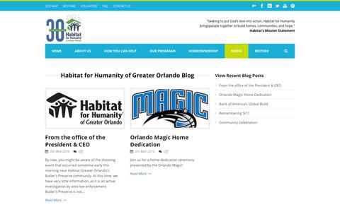 Screenshot of Blog habitat-orlando.org - Habitat for Humanity of Greater Orlando   » Habitat for Humanity of Greater Orlando Blog - captured Oct. 17, 2016