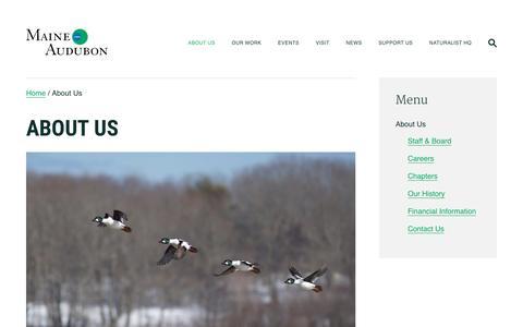 Screenshot of About Page maineaudubon.org - About Us   Maine Audubon - captured July 27, 2018