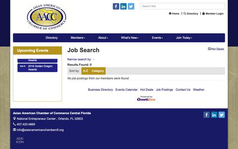 Screenshot of Jobs Page asianamericanchambercfl.org - Job Search - Asian American Chamber of Commerce Central Florida, FL - captured Oct. 4, 2018