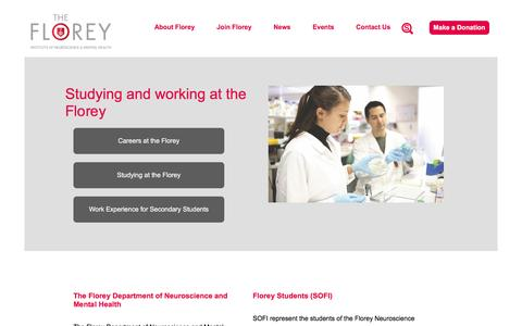 Screenshot of Signup Page florey.edu.au - Studying and working at the Florey | The Florey - Institute of Neuroscience and Mental Health - captured April 4, 2017