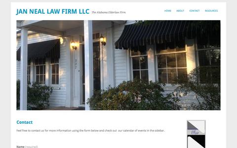 Screenshot of Contact Page janneallaw.com - Contact   Jan Neal Law Firm LLC - captured Oct. 6, 2014