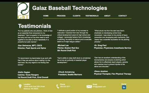 Screenshot of Testimonials Page galazbt.com - Galaz Baseball Technologies | Seattle | TESTIMONIALS - captured Oct. 20, 2016