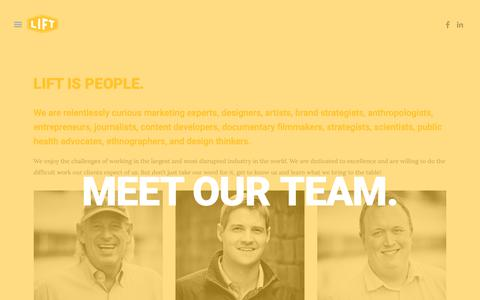 Screenshot of Team Page lift1428.com - MEET OUR TEAM. — LIFT  : : Healthcare Research & Marketing Communications - captured Sept. 28, 2018