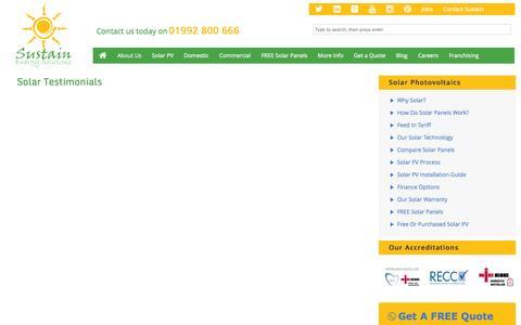 Screenshot of Testimonials Page sustain-uk.com - Solar Testimonials | Sustain-UK | Free & Purchased Solar PV Panels | - captured Oct. 7, 2014