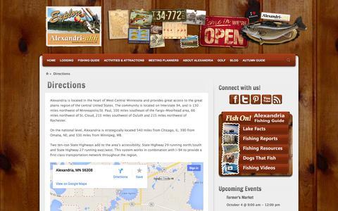 Screenshot of Maps & Directions Page explorealex.com - Directions | Explore Alexandria - Minnesota Vacations - captured Oct. 4, 2014